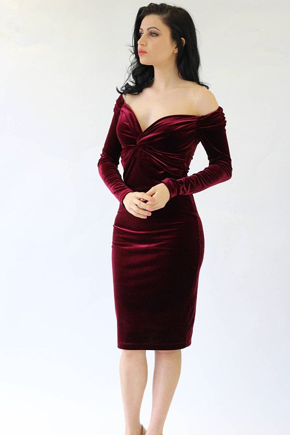 Cocktail velvet dress in burgundy with a flattering bardot neckline 625a235bcb45