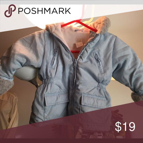 Baby Gap jacket Baby blue Gap jacket, 2 zippered pockets and 2 flap pockets, fur wrist and hood trim GAP Jackets & Coats
