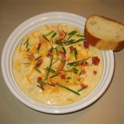 Potato and Cheddar Soup- leave out the ham to make it all veg.