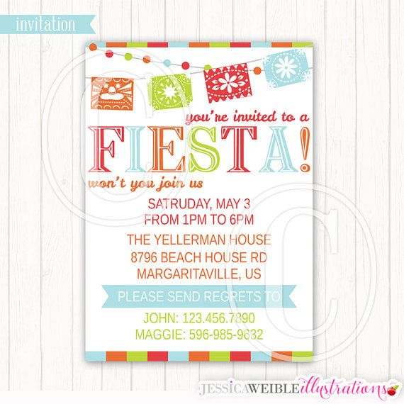 fiesta party banner theme printable invitation blank or custom
