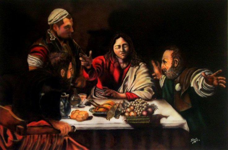 Cena in Emmaus (copia da Caravaggio) Aerografo su tela