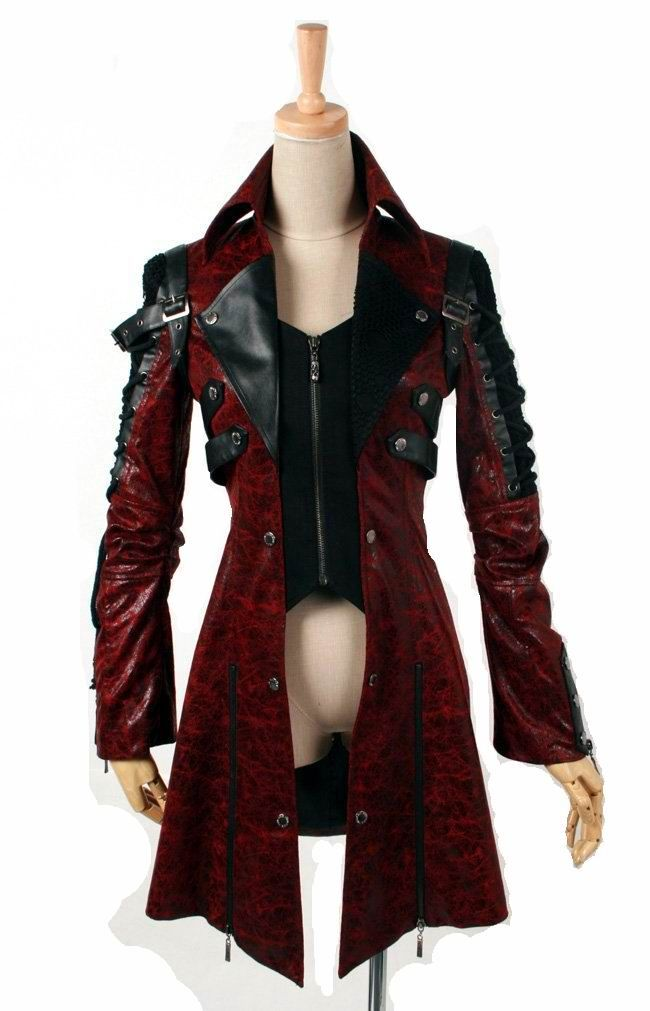 Punk Rave Long Red Gothic Jacket [Y-349 Red] - £119.99 : Gothic Clothing, Gothic Boots & Gothic Jewellery. New Rock Boots, goth clothing & goth jewellery. Goth boots and alternative clothing