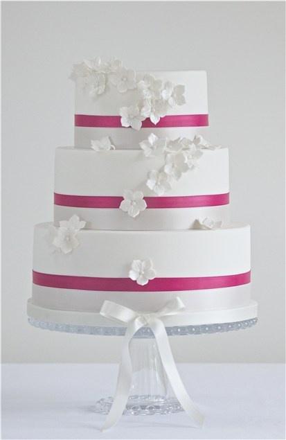 Wedding Cake- white flowers ~ fuchsia stripes