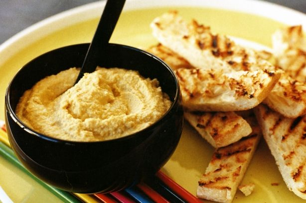 Basic Hummus!  Pretty perfect and tastes great EVERY time!  I used one less garlic clove as it was pretty strong.