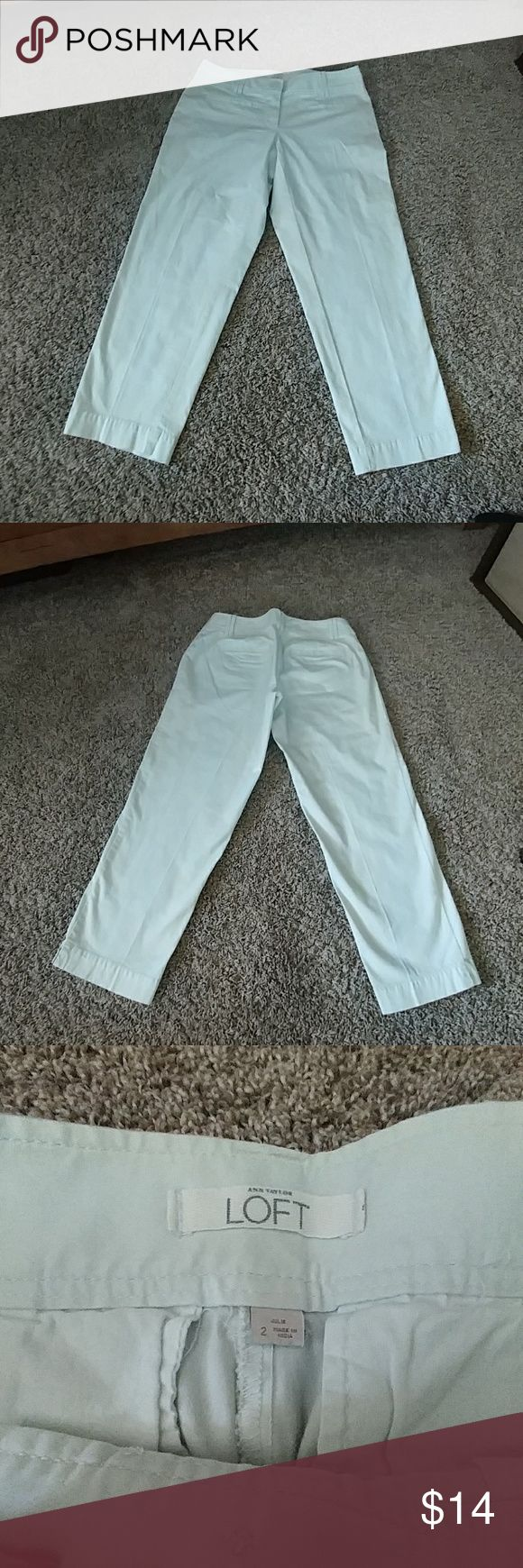 { LOFT } Straight-Leg Minty Capris A light mint green color.  Super soft cotton. Double button and zip. Mid-rise capris.  Very cute!!!!!! And LIKE-NEW!!  No holes, stains, pilling or fade anywhere. Simple and basic. If you'd like me to model them in a pic...let me know. Inseam measures 24 in. long. Waist measures 14 in. lying flat. Thanks!! :) LOFT Pants Capris