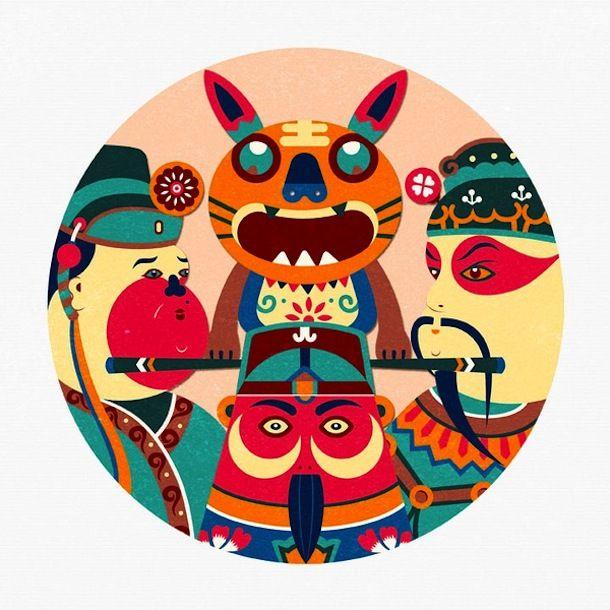 beijing illustrator NIU XIAOSHENG chinese traditional paper-cut style of painting new work /// NeochaEDGE ///