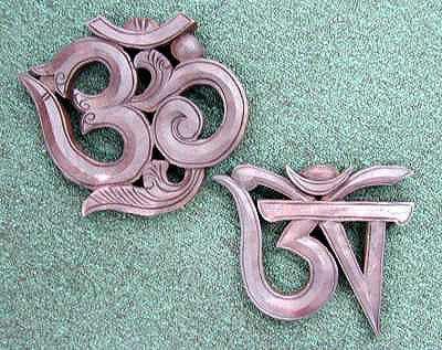 Om (Sanskrit and Hindu) Wood carvings