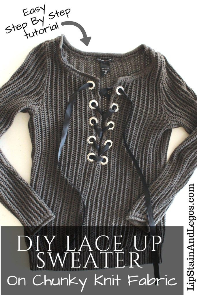 5360d478bb How to Refashion a basic knit sweater into a DIY lace up one with grommets