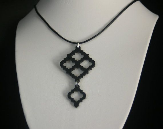 Decorative Long Morrocan Laser Cut Acrylic Pendant Necklace in Black