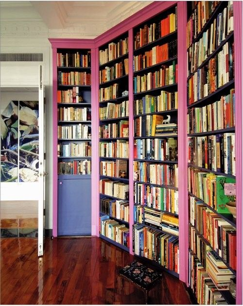 Pink Bookcas, Pink Bookshelves, Pink Trim Bookcas, Home Libraries, Colors Bookshelves, Pretty Bookshelves, Book Shelves, Pink Libraries, Bright Colors