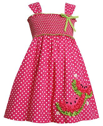 Bonnie Jean Kids Dress, Little Girls Dotted Watermelon Sundress