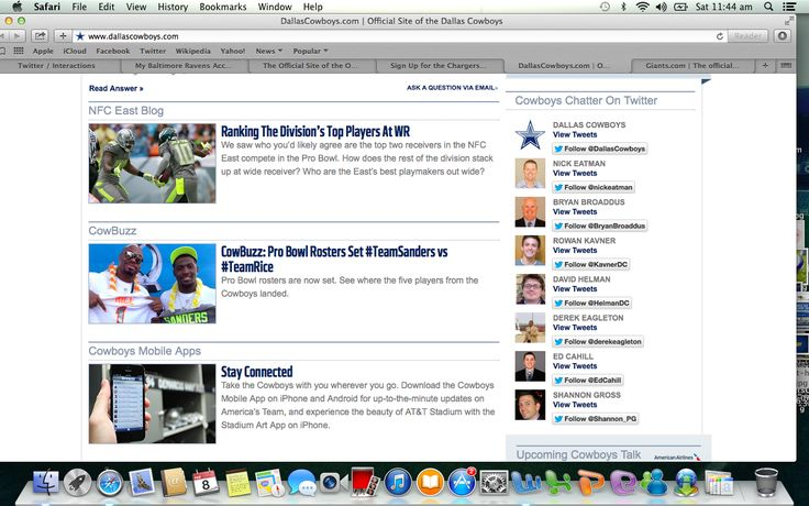 Love this idea from Dallas Cowboys by having their prominent staff, players and fan sites twitter links on their home page