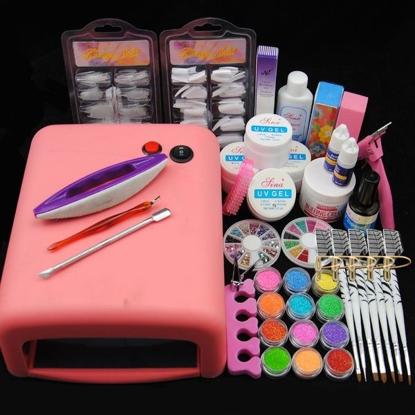 Pro 36w Uv Lamp Dryer Or No Lamp Uv Gel Top Base Coat Primer Nail Art Kit Lampe Uv Nail Art Kit Manicure Kit Powder Manicure