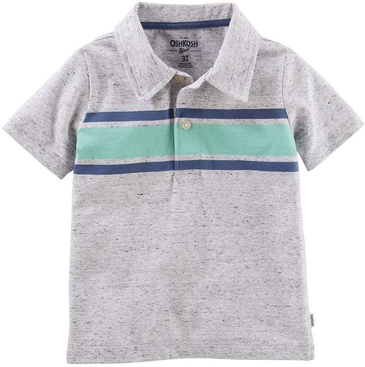 OshKosh Boys Striped Pique Polo S//S Shirt Navy