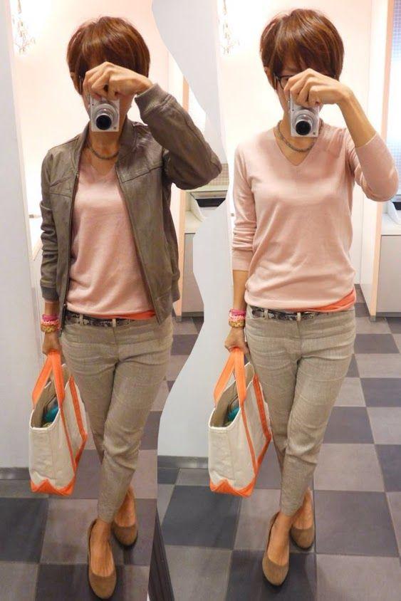 今日はピンクとベージュのペールカラー  Jacket/JOURNAL STANDARD Knit/UNIQLO Inner/H&M Bottoms/GAP Bag/L.L.Bean Shoes/menu'e  Today is a pale tone of beige and pink.   インナーのサーモンピンクとトートバッグの色を合わせて引き締めてます。