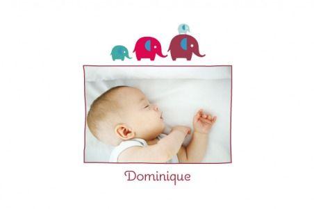 Carte de remerciement de naissance Patrouille 4 éléphants by Marion Bizet pour www.Fairepartnaissance.fr - #elephant #fairepart #merci