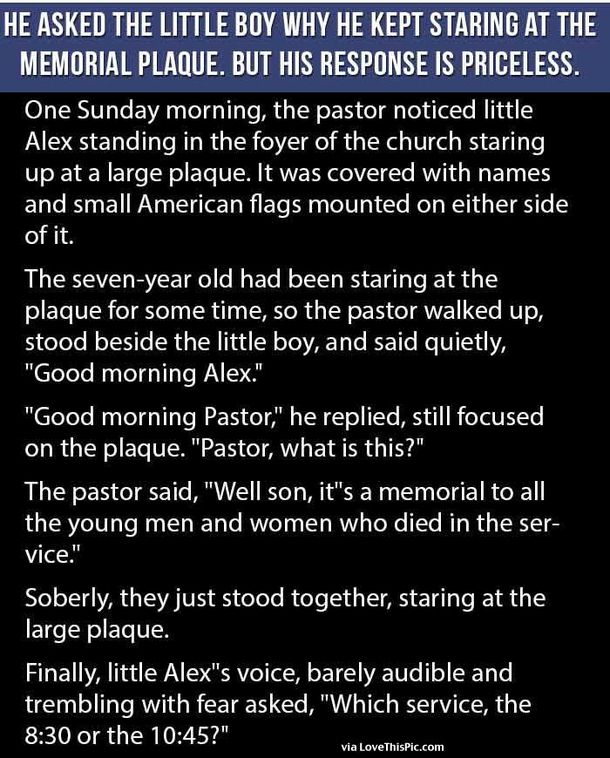 He Asked The Little Boy Why He Kept Staring At The Memorial Plaque But His Response Is Priceless