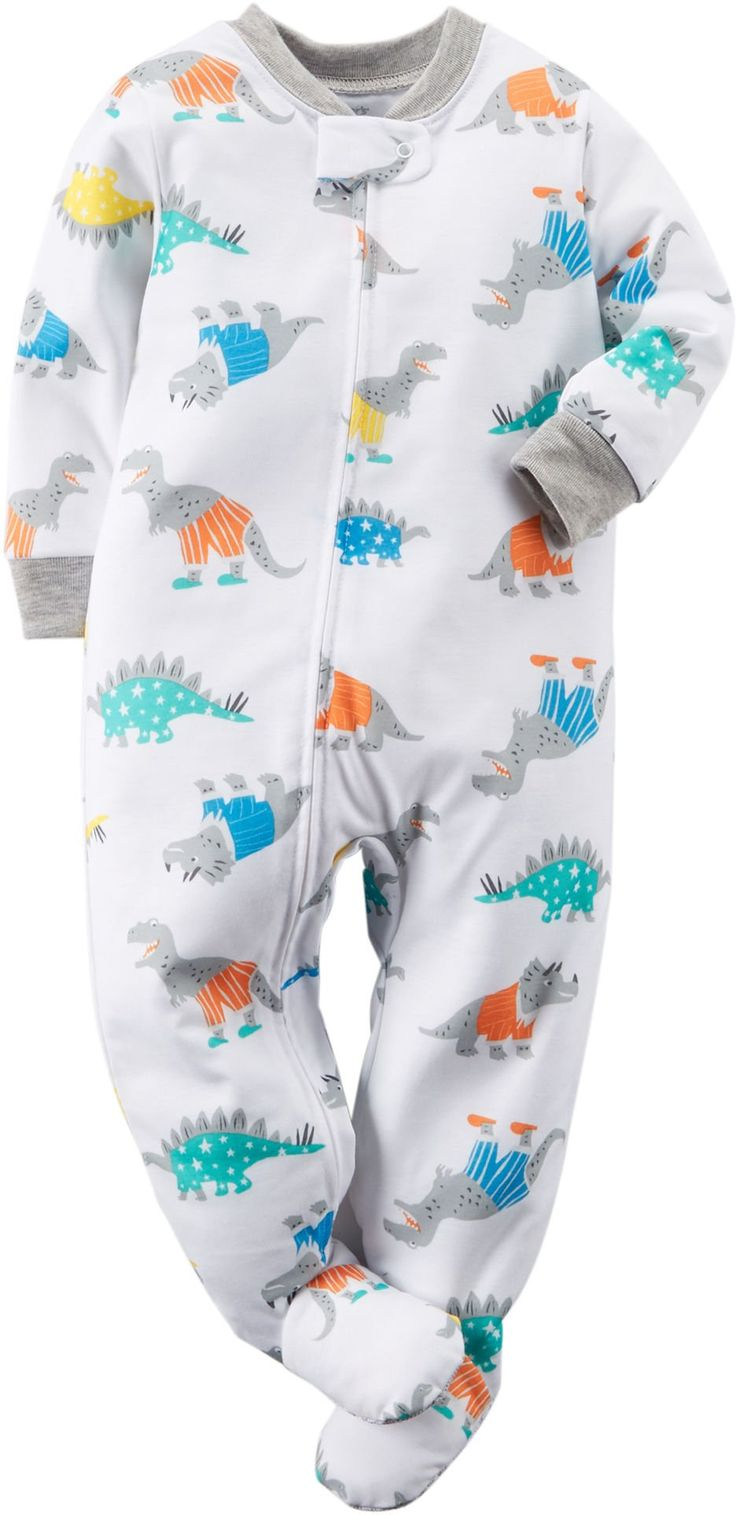 Carters Dinosaur-Print Blanket Sleeper - Baby Boy. Body: 100% Polyester, Sole: 35% Polyester, 65% Cotton. Safety tab protects baby's chin. Ankle to chin zipper. Built-in footies. Machine wash. Imported.