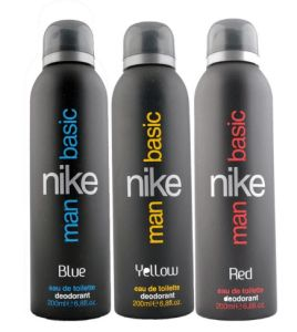 Snapdeal  Buy Nike Basic (Blue Yellow & Red) Men Deodorant Combo 200ml each at Rs 545 only