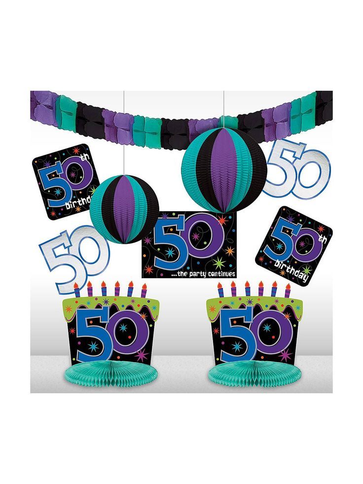 the party continues 50th birthday decorating kit - 50th Birthday Party Decorations