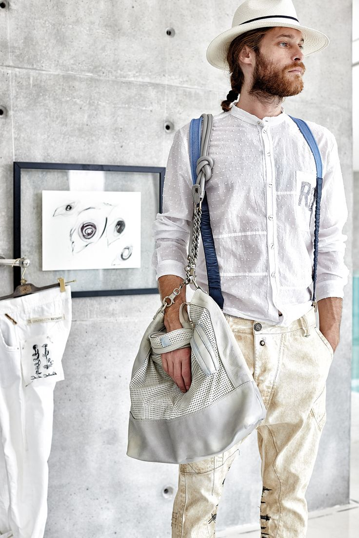 #danieladallavalle #mancollection #riccardocavaletti #ss16 #shirt #white #jeans #beige #blue #braces #him #her #himandher #grey #handbag