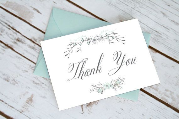 Shabby Chic Floral Thank You Cards in Ice Blue & Grey: Modern Vintage Rustic Shabby Chic Card, Cottage Chic Thank Yous