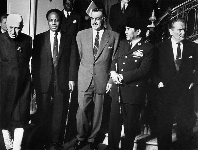 Leaders of Non-Alligned Nations - (L to R) Nehru of India, Nkrumah of Ghana, Nasser of United Arab Rep., Soekarno of Indonesia, & Tito of Yugoslavia.