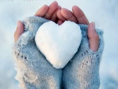Snow cold hands but toasty warm heart...