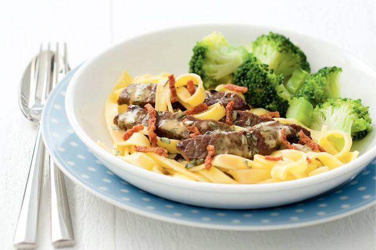 Kijk wat een lekker recept ik heb gevonden op Allerhande! Tagliatelle met biefstukreepjes en broccoli