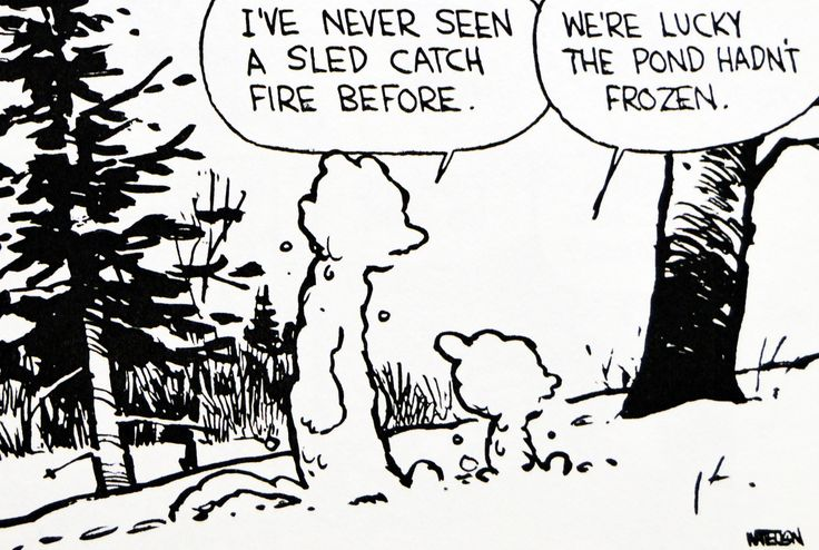 Calvin and Hobbes, DE's CLASSIC PICK of the day (8-18-14) - I've never seen a sled catch fire before.  ...We're lucky the pond hadn't frozen.
