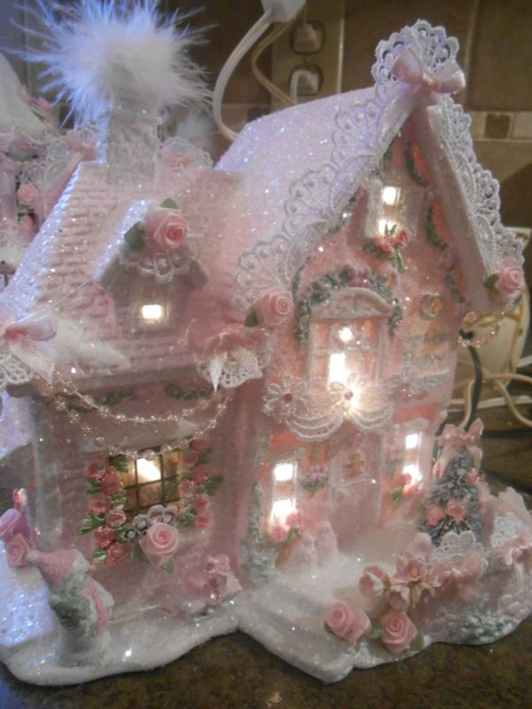 shabby pink victorian christmas  village bakery house   chic roses glitter