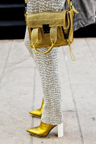Matching Philip Lim shoes and bag gold foil amazingness.
