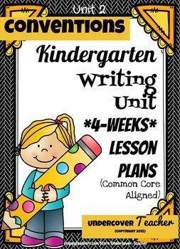 This Writer's Workshop 4-week lesson plan bundle with lots of extras will have your Kindergarten students loving writing time! My students actually cheer when it's time to do Writer's Workshop!This is Unit 2 on writing Conventions (capital letters, punctuation, and spacing).
