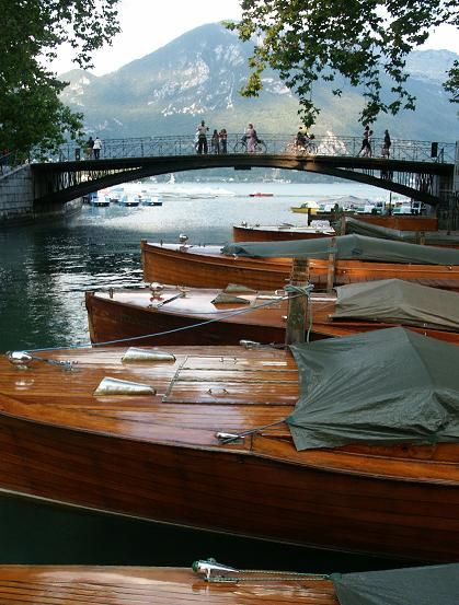 Wooden boats in Annecy, France