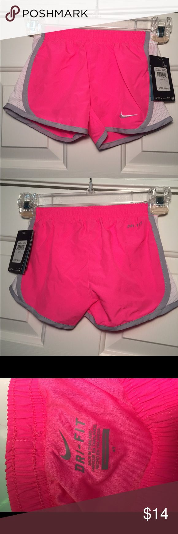 Nike Dri Fit 4T Girls Hot Pink shorts with briefs Cute Hot Pink shorts for a little girl; Brand new with tags; Built in briefs; Dri-Fit Nike technology to keep you dry and cool; Retails: $28 Nike Bottoms Shorts