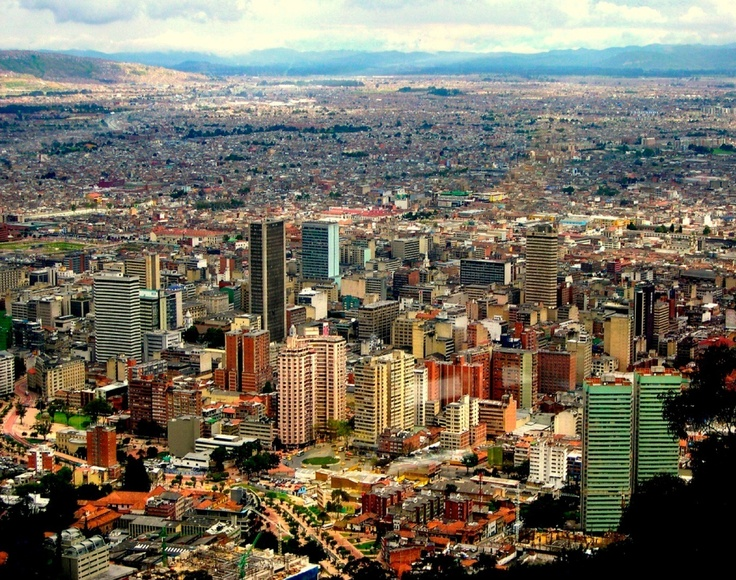 View of downtown Bogota from part way up the mountain at Montserrat.