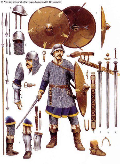 Carolingian knight and his equipment.