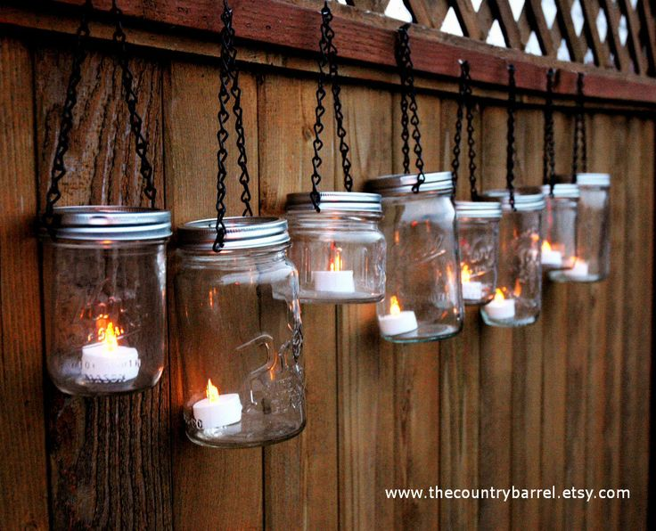 Mason Jar Lanterns: Fence, Ideas, Teas Lights, Jar Lanterns, Mason Jar Candles, Jars Lanterns, Mason Jars Candles, Jars Lights, Tea Lights