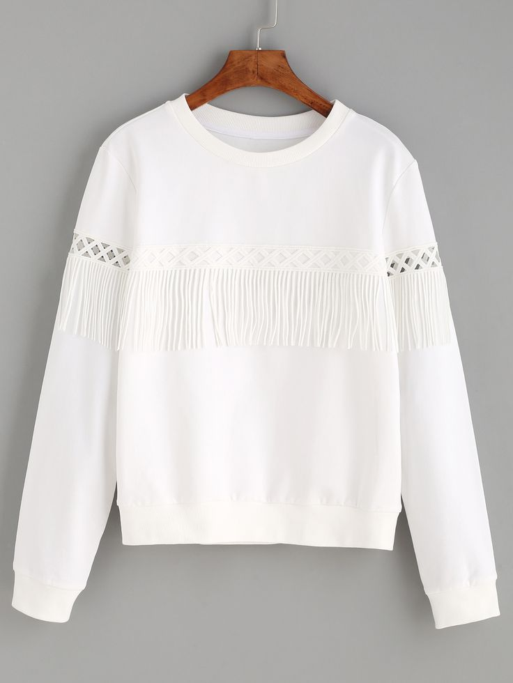 Shop White Tassel Long Sleeve Sweatshirt online. SheIn offers White Tassel Long Sleeve Sweatshirt & more to fit your fashionable needs.