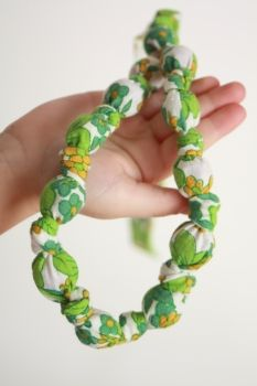 Babes & Tots Designs   Jewellery   Necklaces   Fabric Knot Necklace beaded knotted upcycled fabric necklace - Handmade Emporium