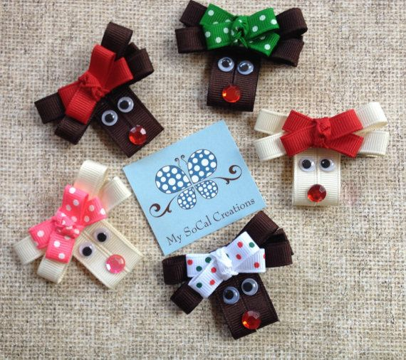 Reindeer Ribbon Sculpture Hair Clip-Holiday Hair Bow-Rudolph Hair Clip-Winter…