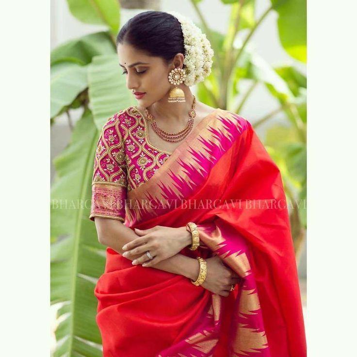 Bridal work blouse , Bhargavi kunam .bridal kanchi pattu saree