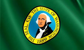 Washington State Flag - The Evergreen State  (if you were wondering, it's because it rains so much...hahahahahahahahahaha)