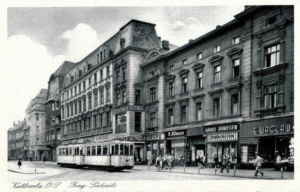 Katowice Górny Śląsk. Obwodnica od strony południowej - oczywiście chodzi o Rynek i rzut na początek ulicy Warszawskiej, zdjęcie z 1942 r.