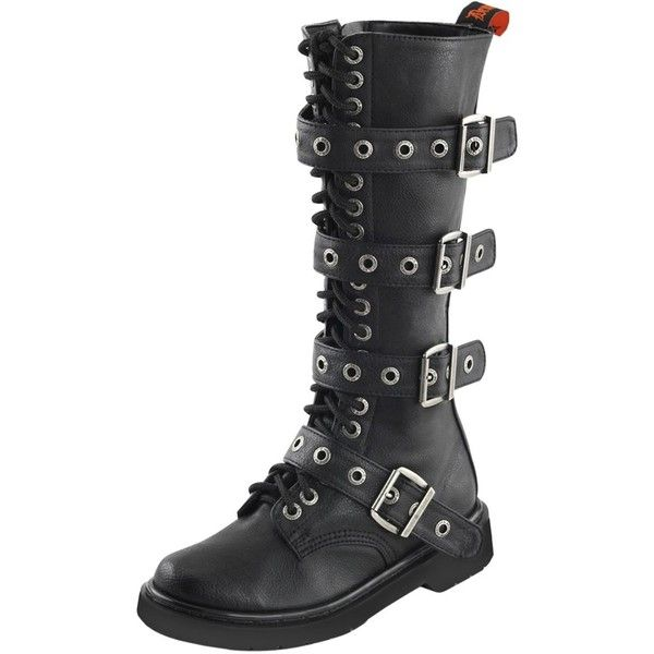 Womens Tall Combat Boots Buckle Straps Lace Up Shoes Black 1 1/4 Inch... ($101) ❤ liked on Polyvore featuring shoes, boots, black knee high combat boots, tall lace up boots, knee high lace up boots, lace up combat boots and tall combat boots