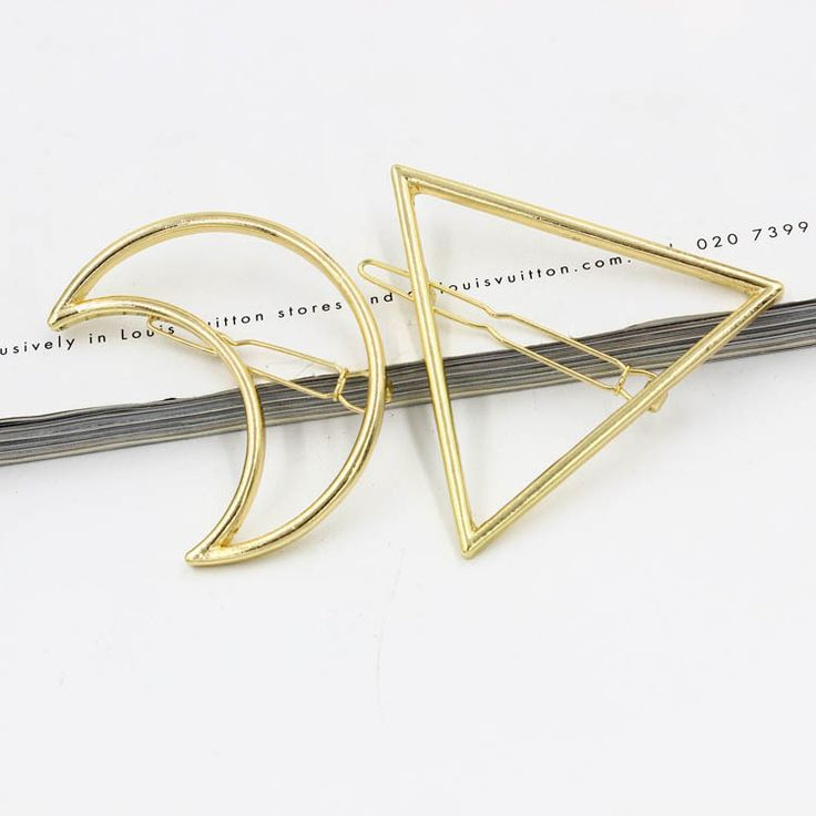 Moon Triangle Design Exquisite Metal Hair Clips Hairpins Hairwear Accessories Women Fashion Jewelry Free shipping