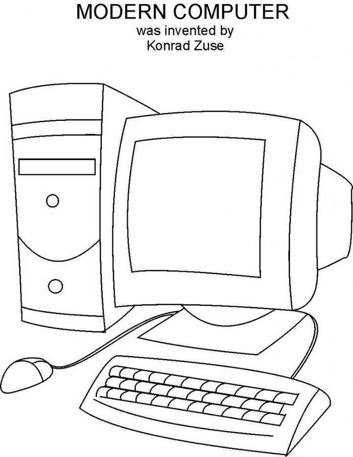 Computer Coloring Pages Printable Computer Drawing Kids Computer Computer Sketch