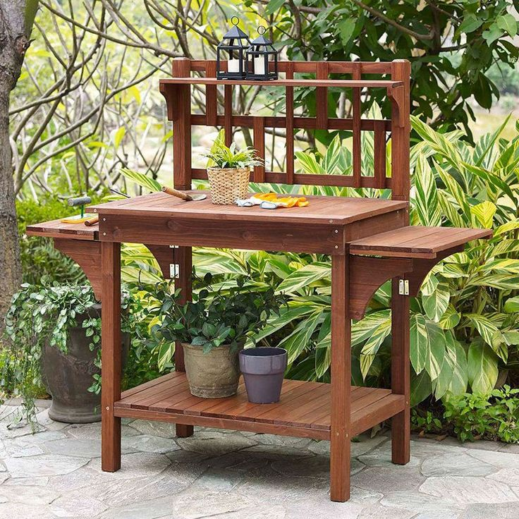 Solid Wood Potting Bench with Flip-up Sides and Garden Tool Shelf in Cinnamon