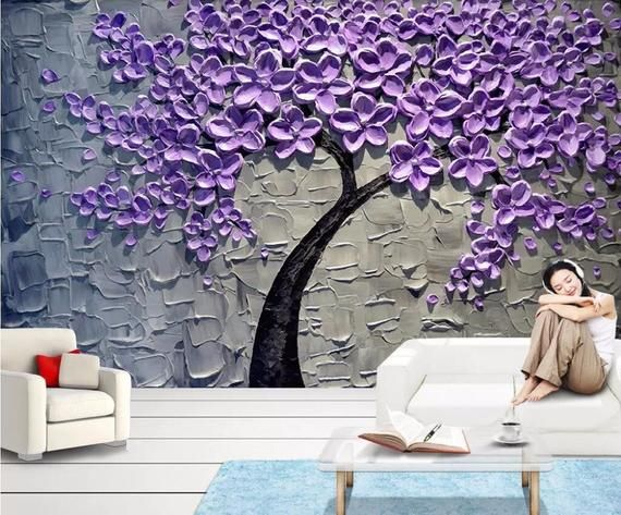 Custom Wallpaper Purple Money Tree Oil Painting Three Dimensional Knife Painting Rich Tree Tv Background Wall Murals In 2021 Wall Murals Tree Wall Murals Wallpaper