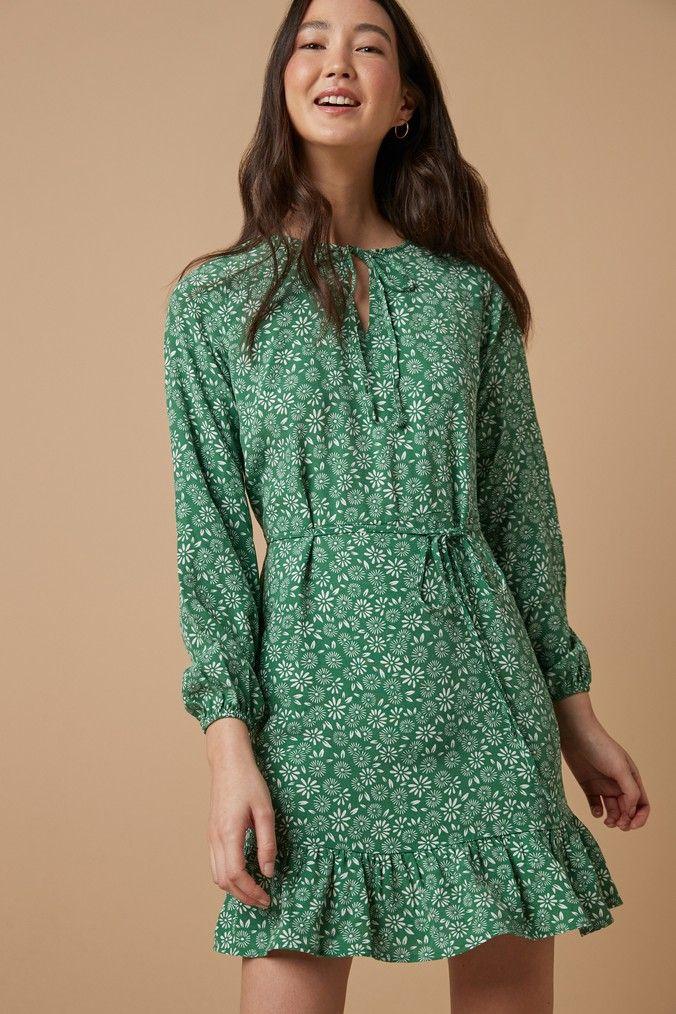 Womens Next Green Floral Long Sleeve Tea Dress Green In 2020 Tea Dress Dresses Floral Mini Dress